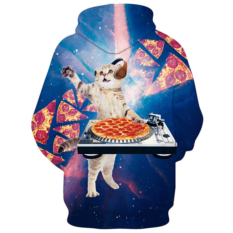 Funny Dj Pizza Cat Graphic Hoodie