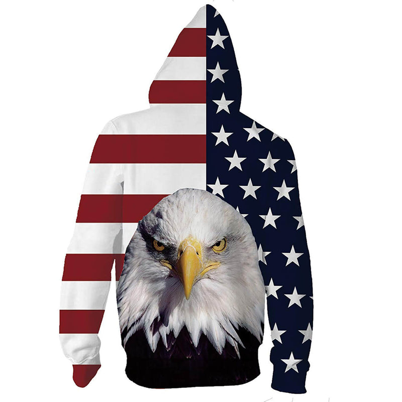 Eagle American Flag Zip Graphic Hoodie