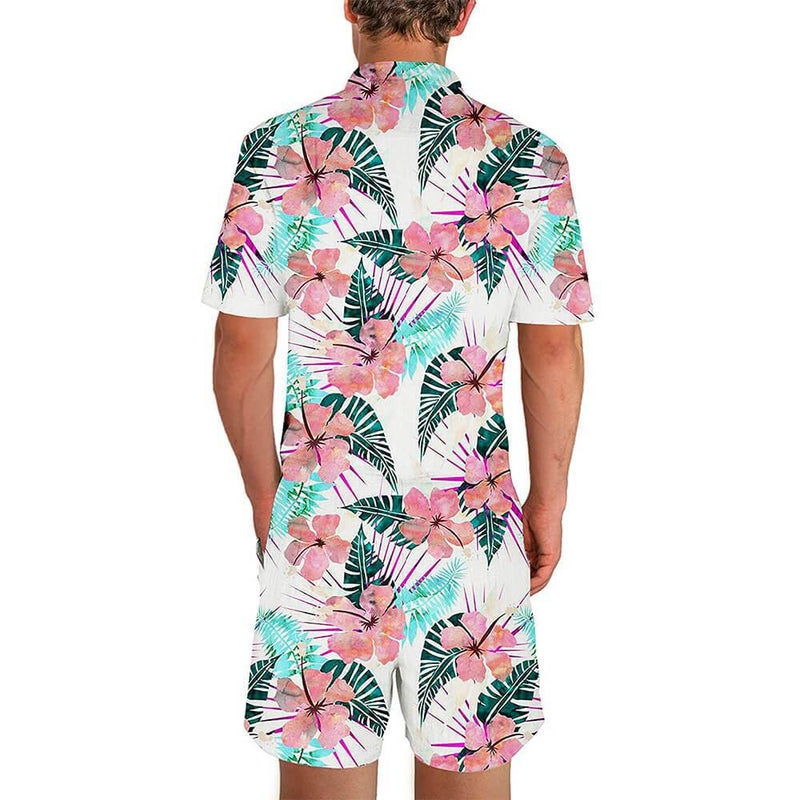 Graphic Tropical Flowers Male Romper