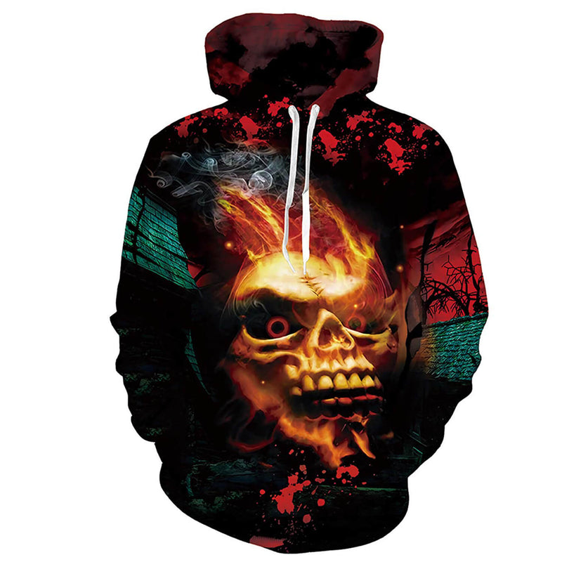Stylish Fire Skull Sweatshirt