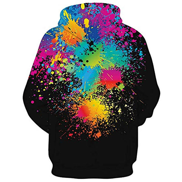 3D Graphic Printed Colorful Painting Black Hoodies Sweaters with Fleece Plush Lining Funny Realistic Sweatshirts
