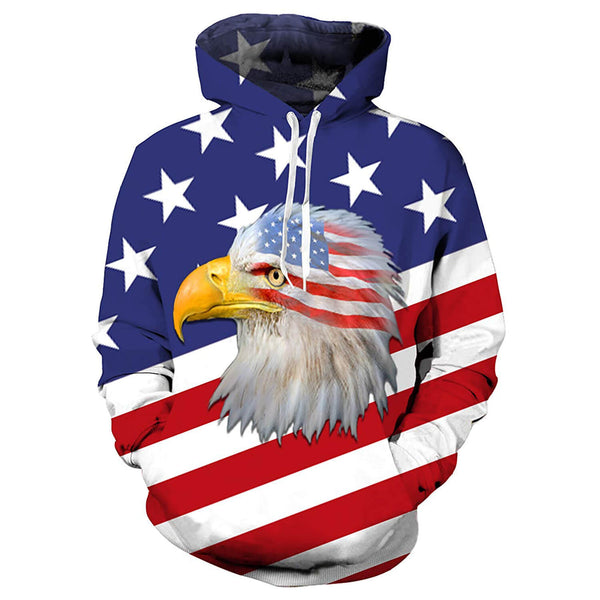 Eagle American Flag Hoodie Patriot Sweatshirt