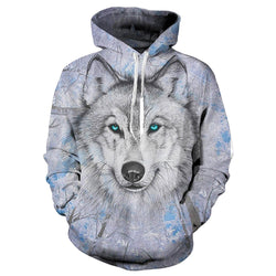 Galaxy Blue Eyes Wolf Graphic Hoodie