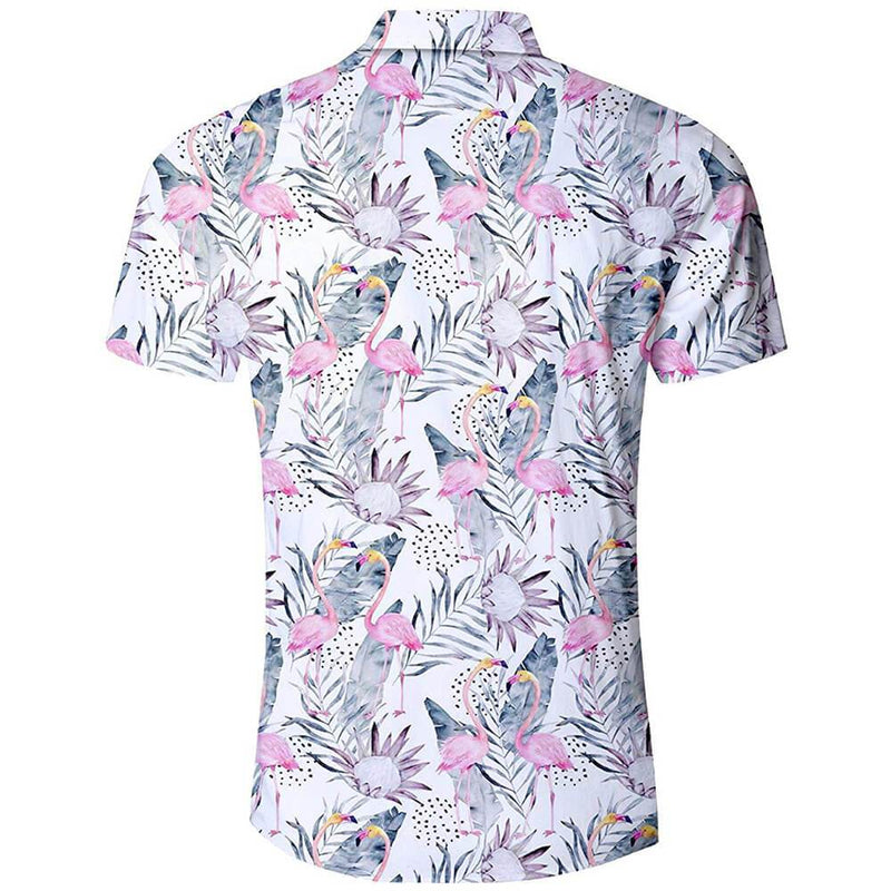 Pink Flamingo Aloha Shirts White