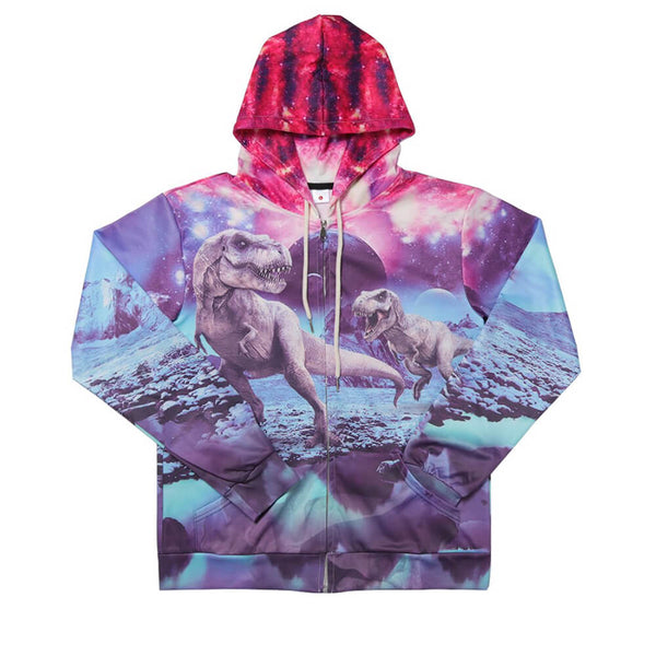 Unisex 3D Digital All Over Print Dinosaur Zip Up Hoodie Casual Dinosaur Pullover Hooded Sweatshirt Jacket Pockets