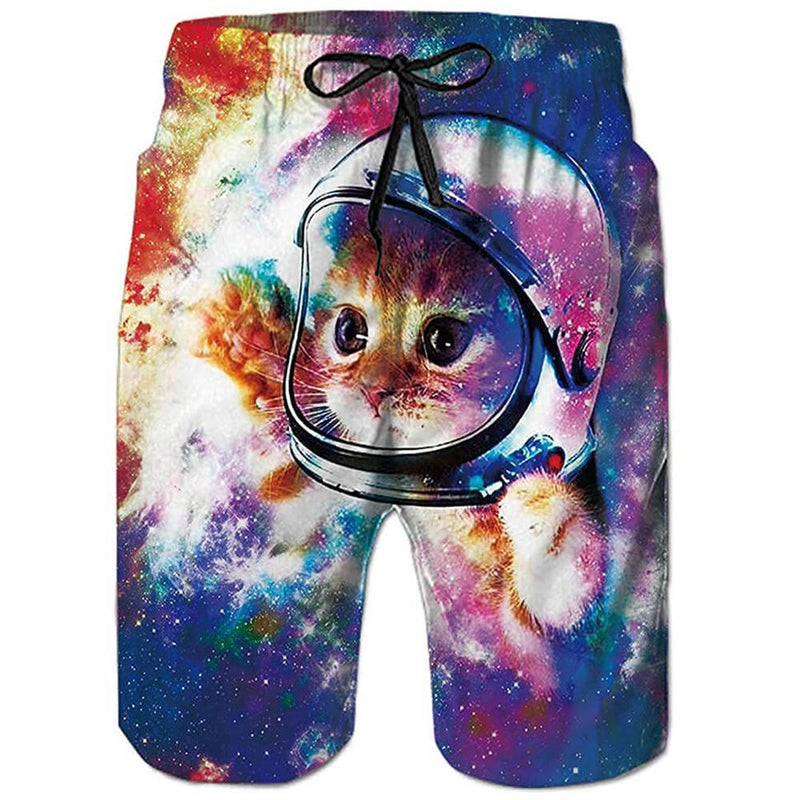 Space Astronaut Cat Swim Trunks