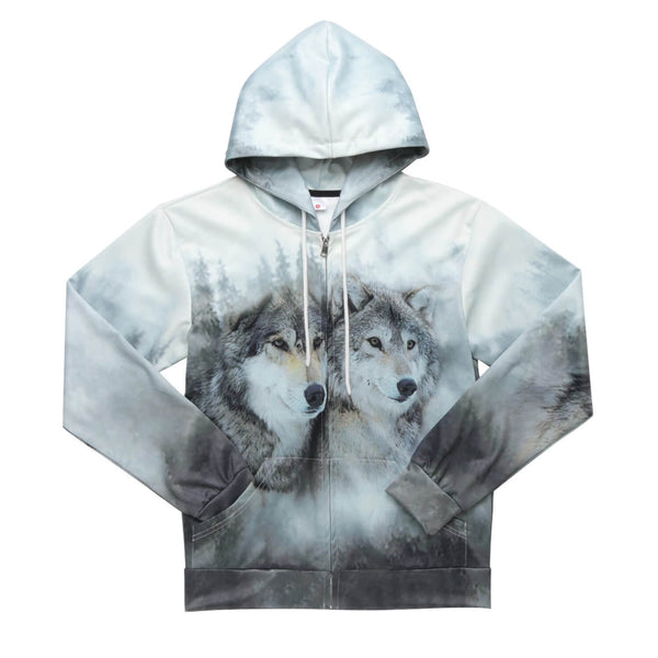 Couple Wolf Zip Up Hoodie Snow Couple Wolf Sweatshirt