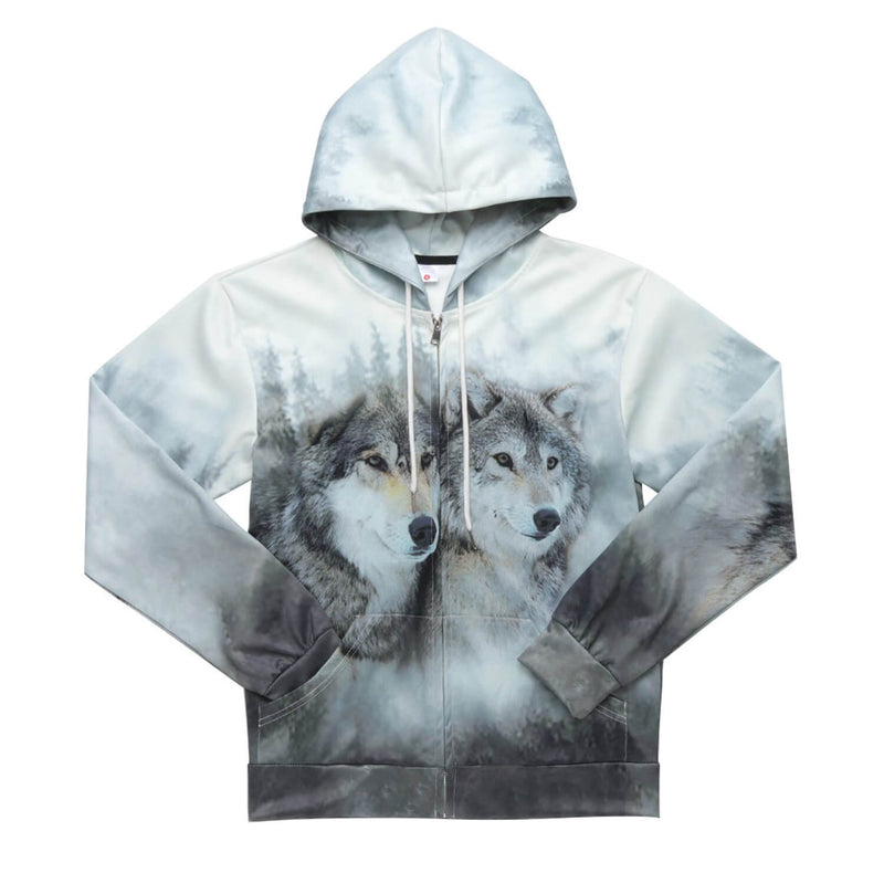 Couple Wolf Zip Up Graphic Hoodie