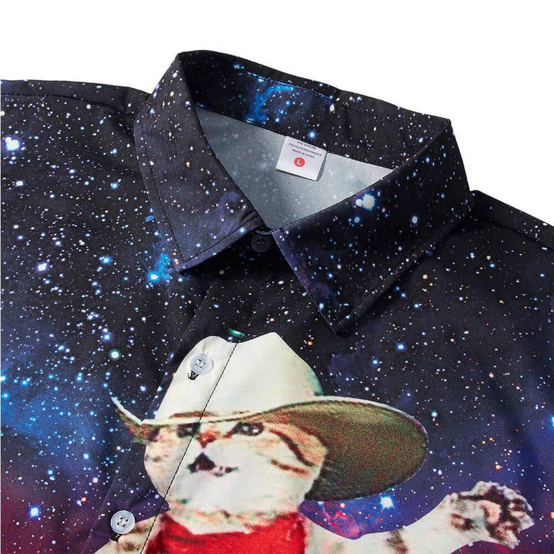 Cowboy Cat Riding Shark Funny Hawaiian Shirt