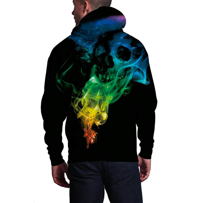 Green Fire Skull Graphic Hoodie