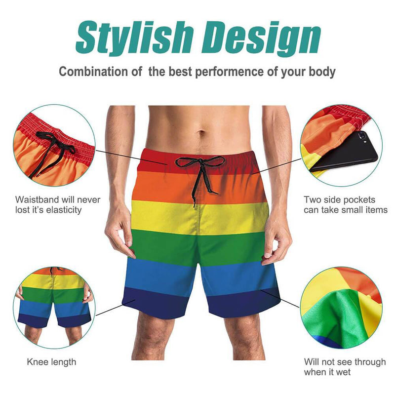 Striped Rainbow Funny Swim Trunks