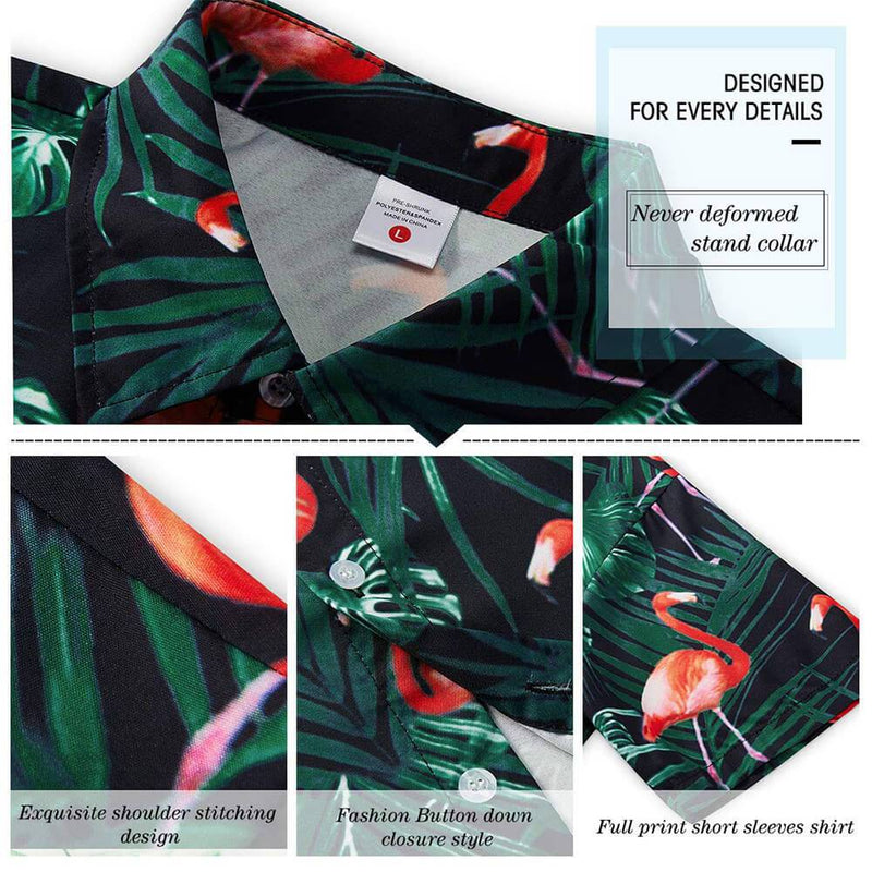 Dark Green Flamingo Funny Hawaiian Shirt