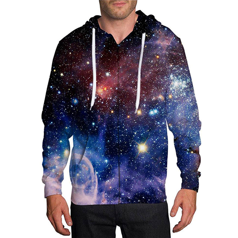 Space Galaxy Zip Up Graphic Hoodie