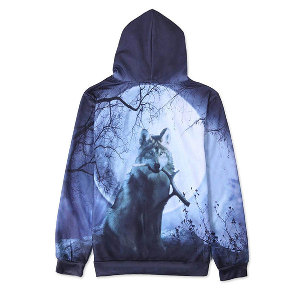 Wood Full Moon Wolf Graphic Hoodie