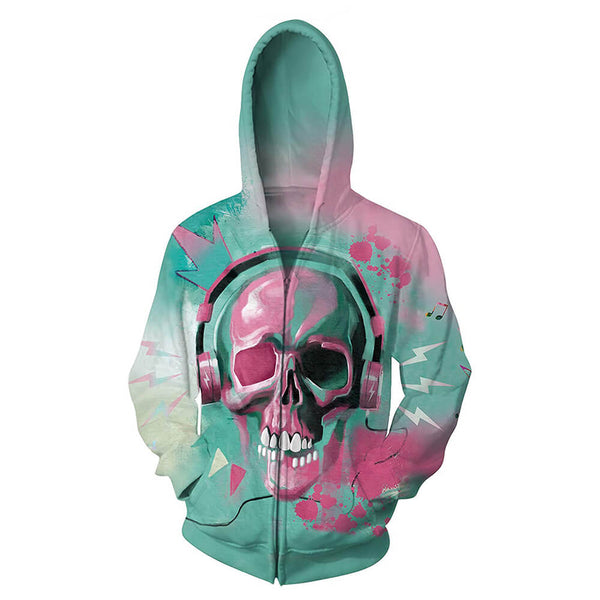 Music Skull Zip Up Graphic Jacket