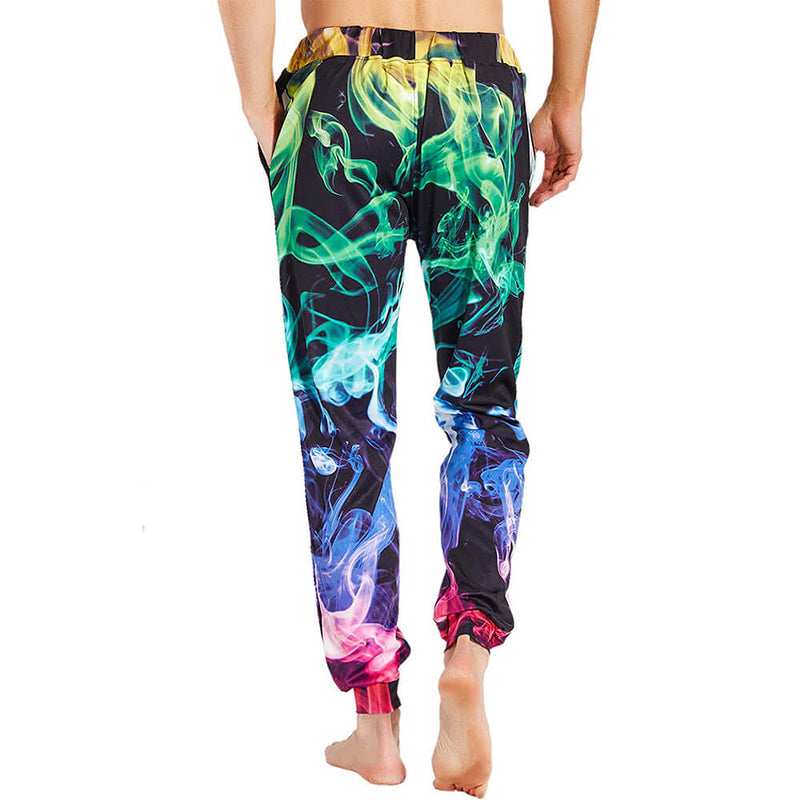 Graphic Colorful Smoke Sweatpants Funny Colorful Fire Smoke Joggers Pants Sports Trousers with Drawstring