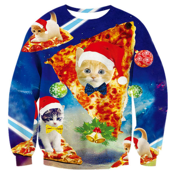 Blue Pizza Cat Ugly Christmas Sweater