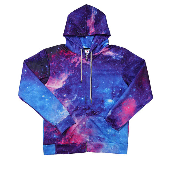 Space Galaxy Zip Up Graphic Sweatshirt