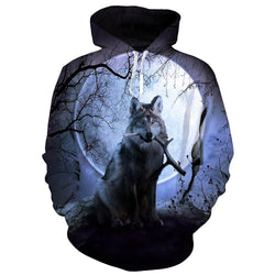 Wood Full Moon Wolf Sweatshirt