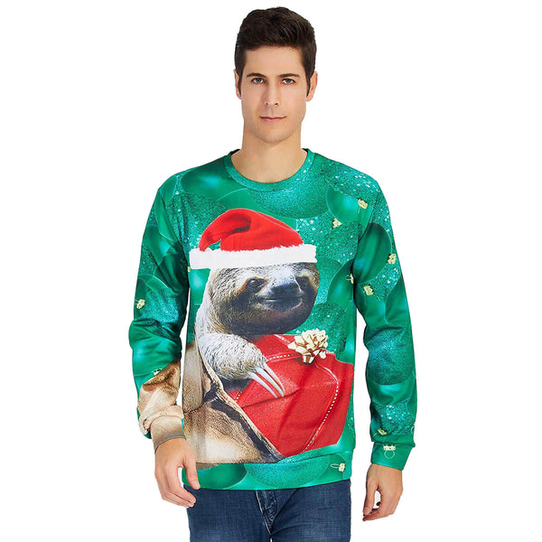 Sloth Christmas Hat Sweatshirt Ugly Green Christmas Sweatshirt