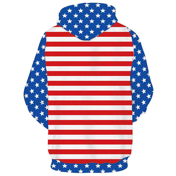 Blue American Flag Hoodie Patriot Sweatshirt