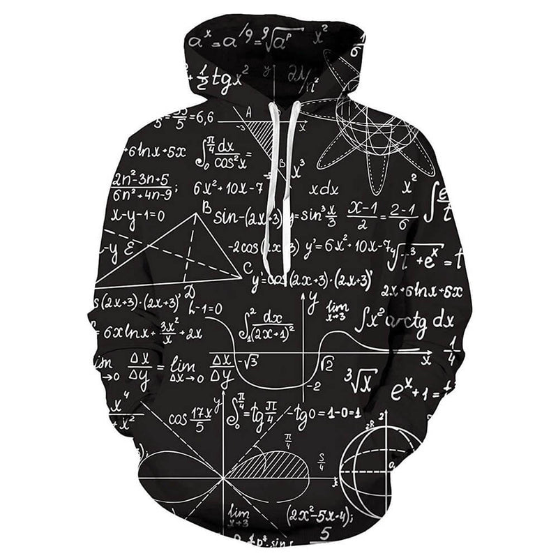 Black Math Hoodie With Big Pockets