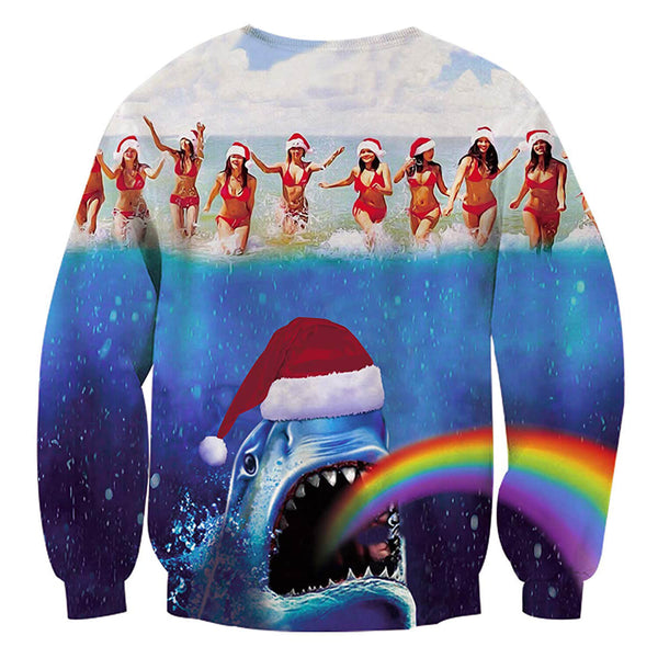 Rainbow Shark Sweatshirt Ugly Christmas Sweatshirt