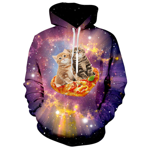 Space Pizza Cats Hoodie Cat On Pizza Sweatshirt For Cat Lovers