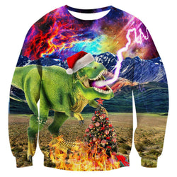Thunder Dinosaur Ugly Christmas Sweater