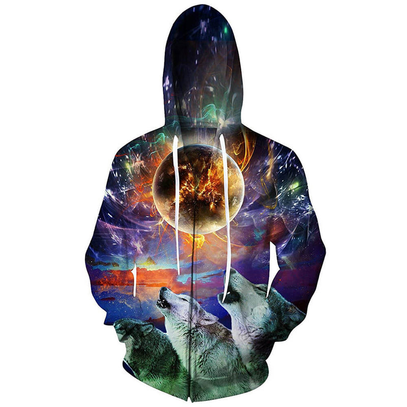Full Moon Wolf Zip Up Graphic Hoodie