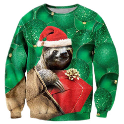Sloth Hat Ugly Christmas Sweater