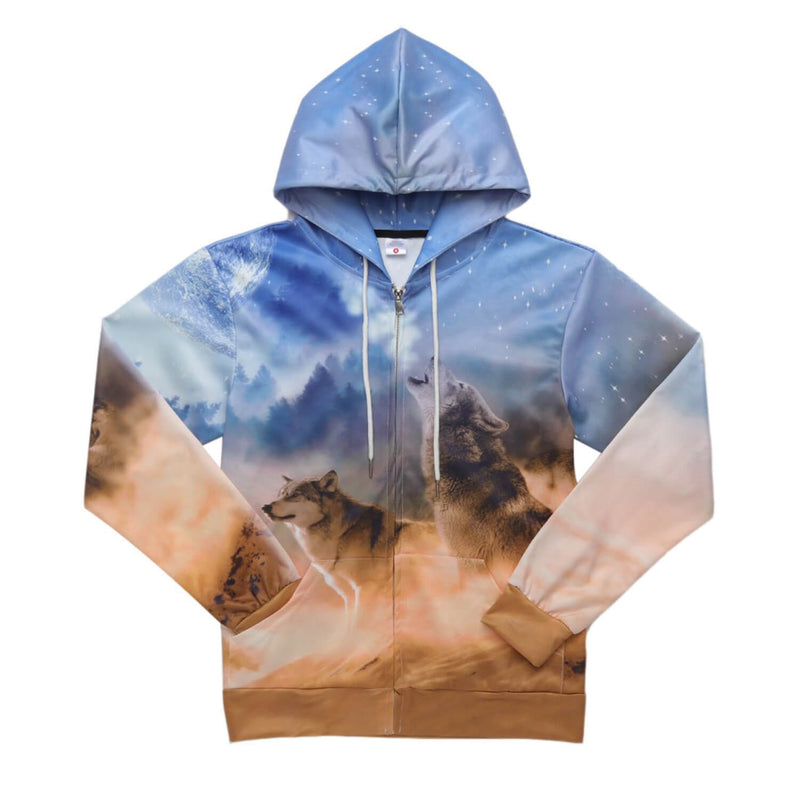 Wolverine Wolf Zip Up Graphic Hoodie