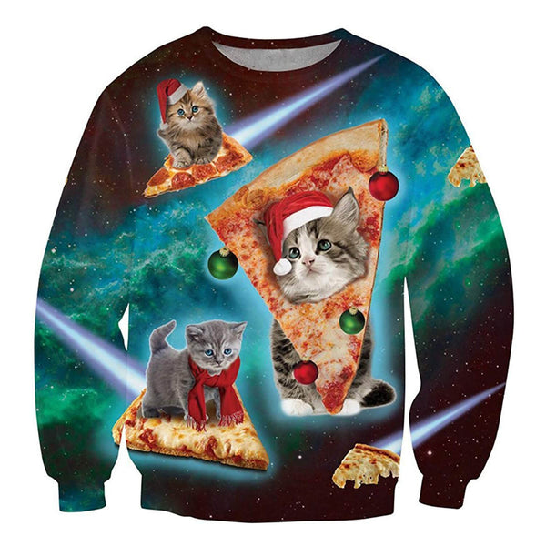 Dark Green Pizza Cat Ugly Christmas Sweater