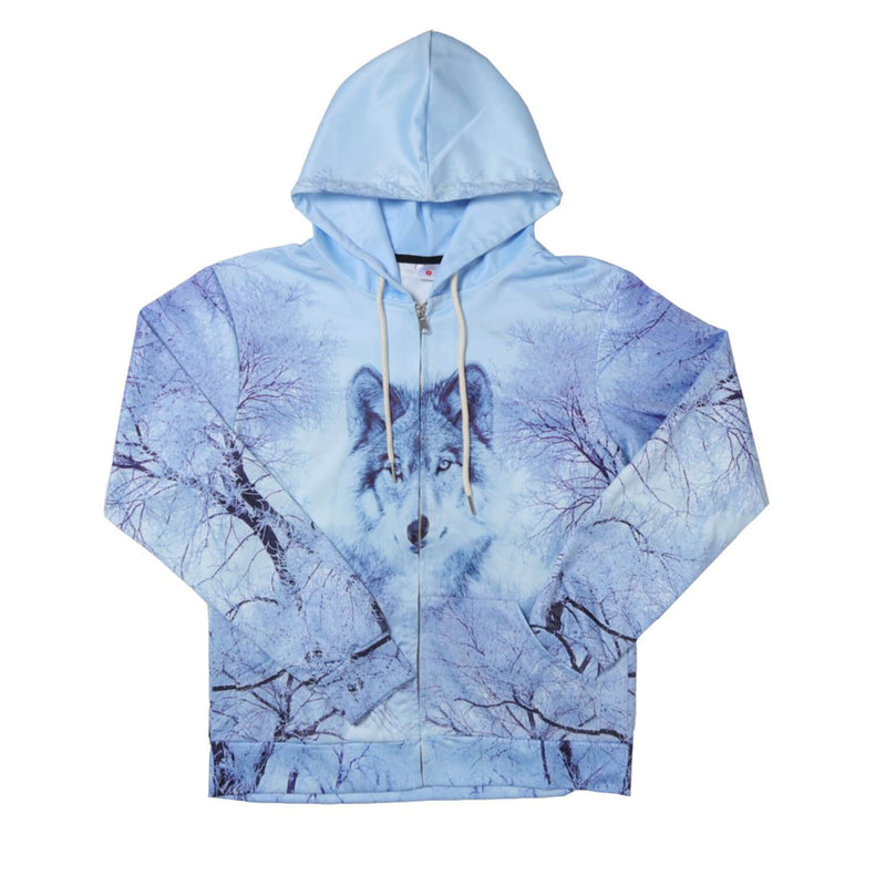 Snow Forest Wolf Zip Up Graphic Hoodie