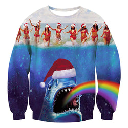 Rainbow Shark Ugly Christmas Sweater