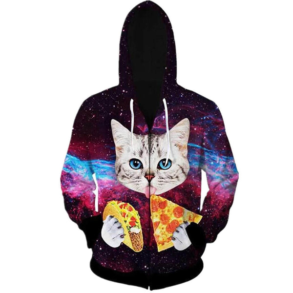 Pizza Taco Cat Zip Up Graphic Hoodie