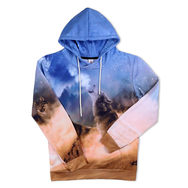 Moon Wolf Hoodie Snow Forest Wolf Sweatshirt For Teen