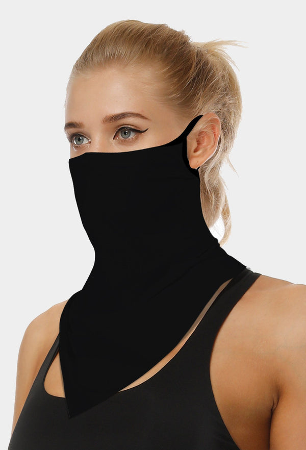Plain Black Face Bandana Scarf Mask With Earloops