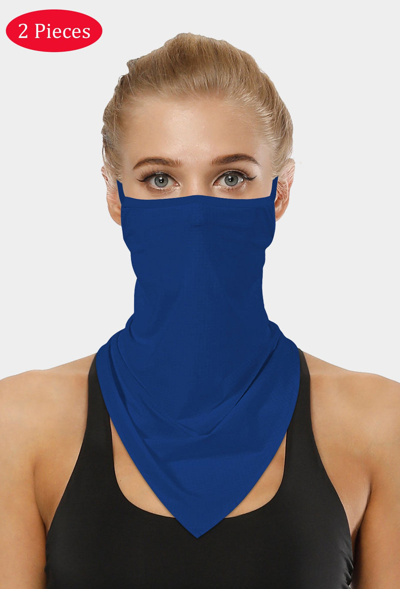 Plain Blue Face Bandana Scarf Mask With Earloops
