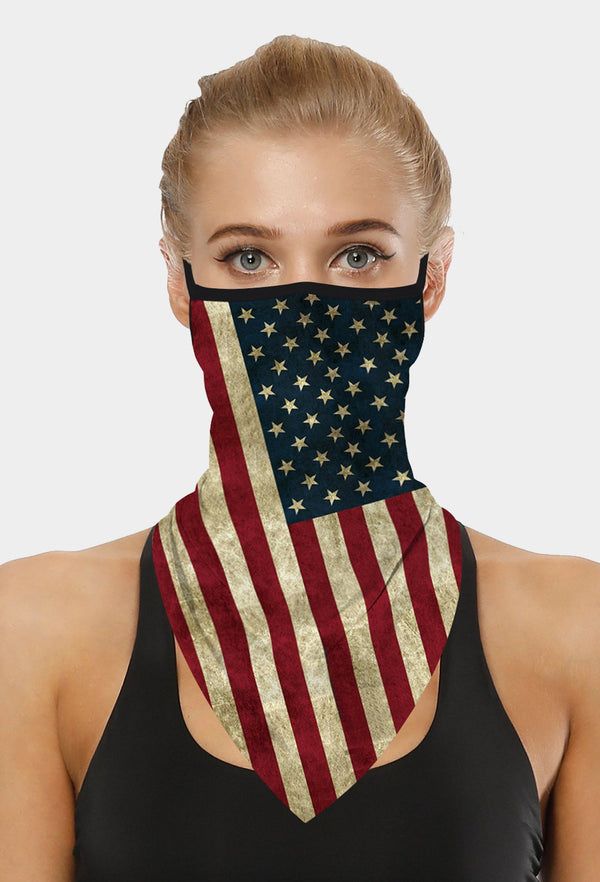 American Flag Print Black Face Bandana Scarf Mask With Earloops