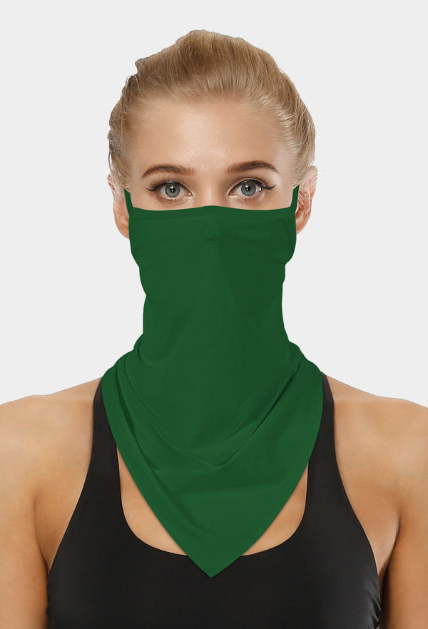 Plain Green Face Bandana Scarf Mask With Earloops