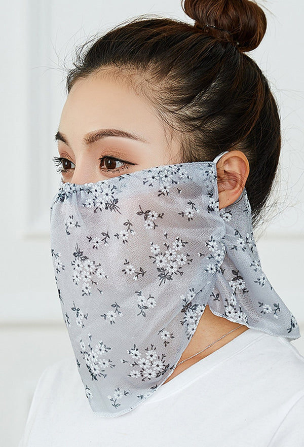 Flowers Print Grey Face Bandana Scarf Mask With Earloops