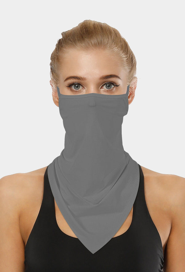 Plain Grey Face Bandana Scarf Mask With Earloops