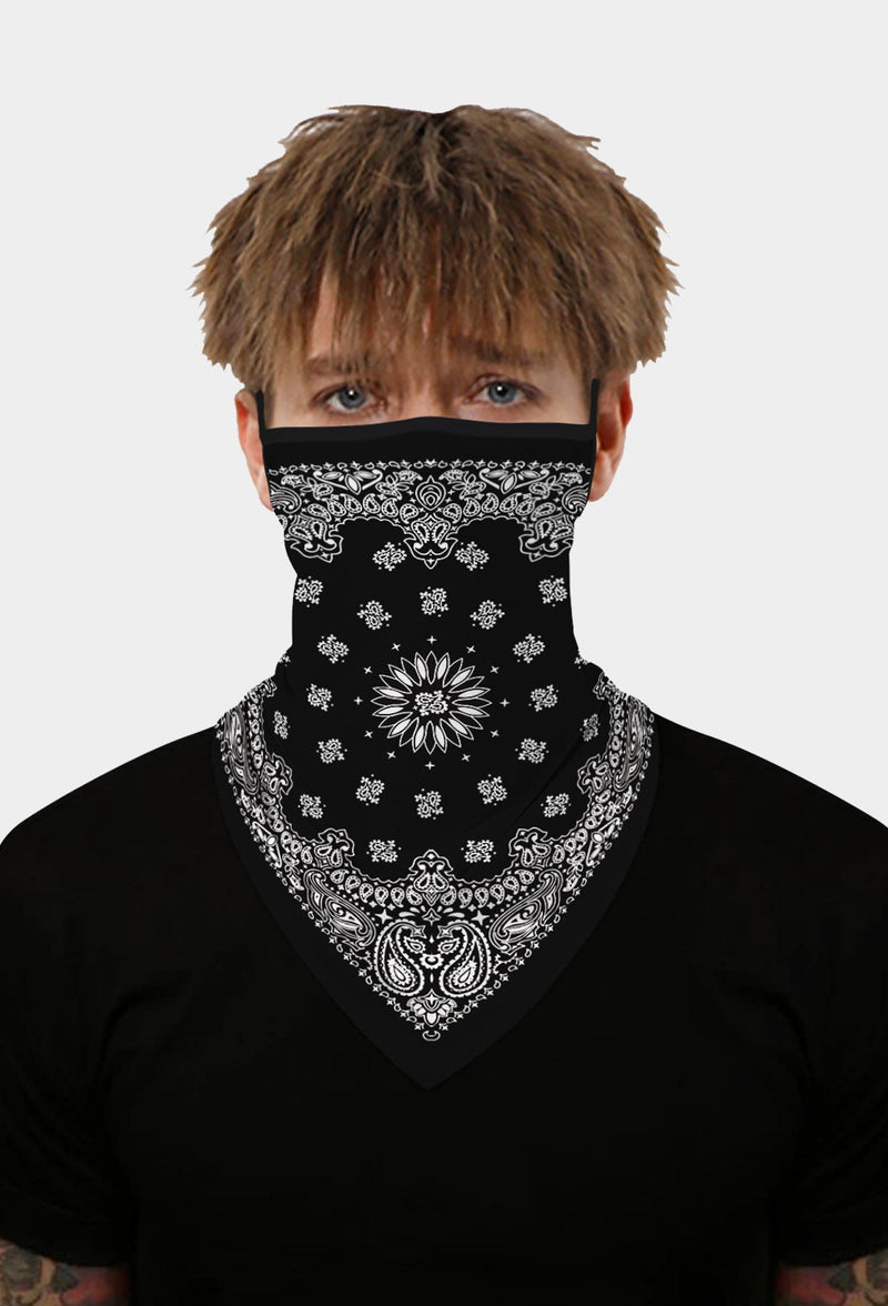 Paisley Print Black Face Bandana Scarf Mask With Earloops