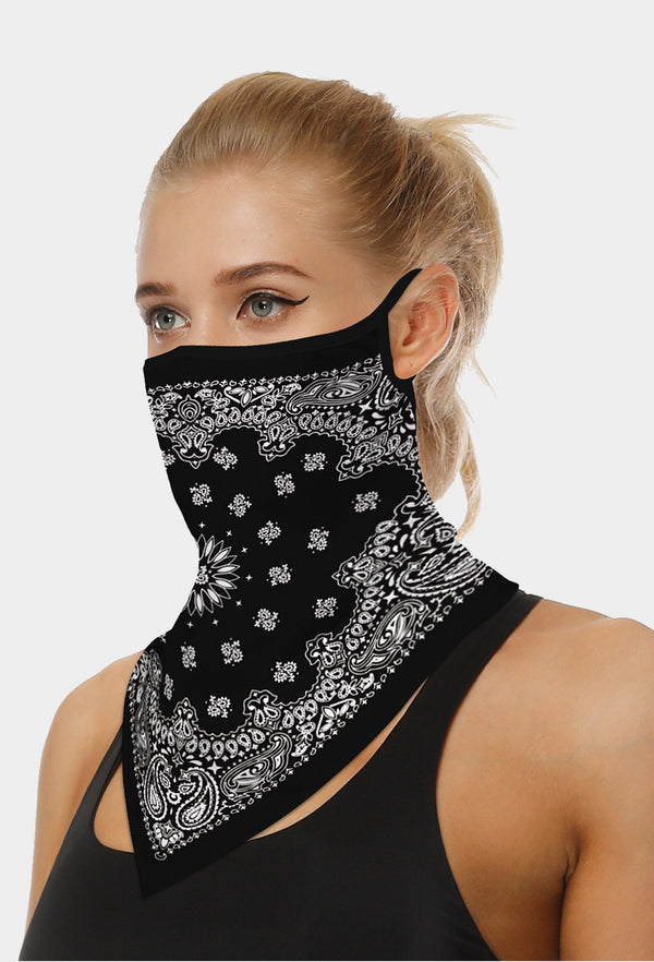 Paslay Print Black Face Bandana Scarf Mask With Earloops