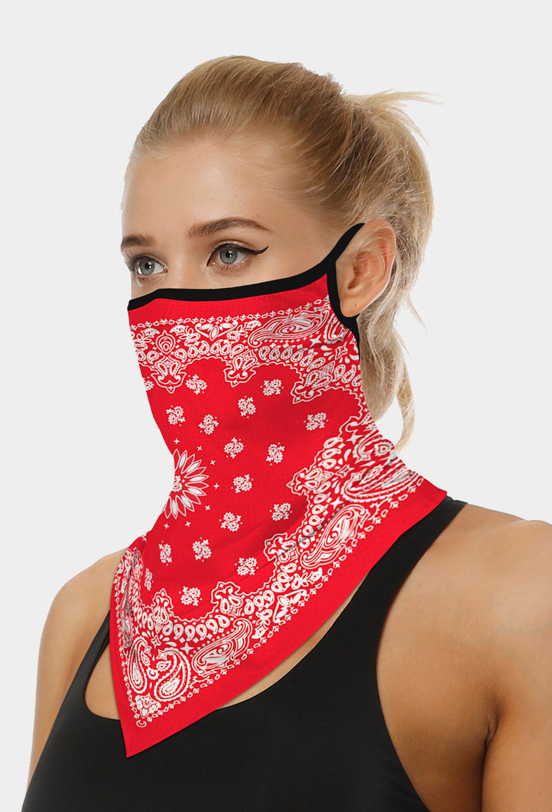 Paslay Print Red Face Bandana Scarf Mask With Earloops