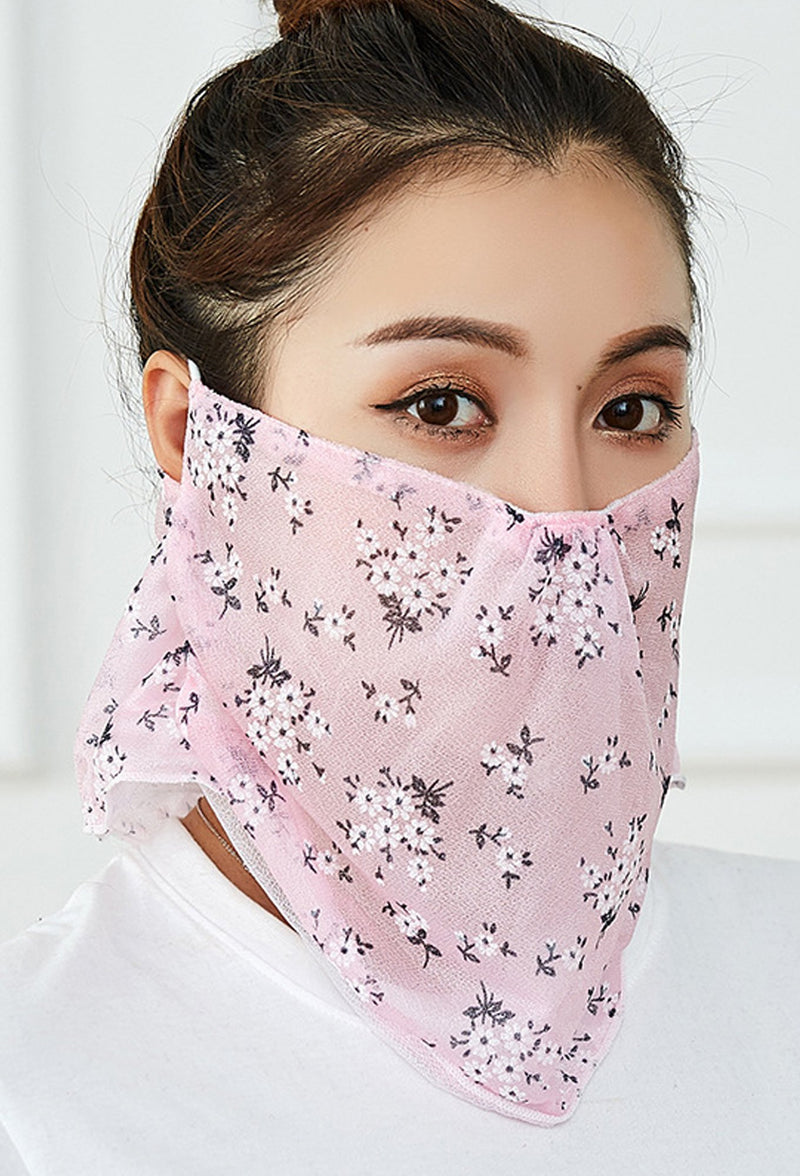 Flowers Print Pink Face Bandana Scarf Mask With Earloops