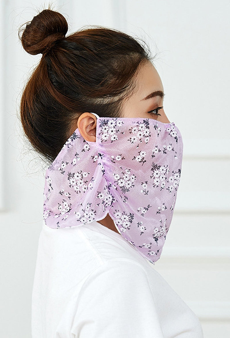Flowers Print Purple Face Bandana Scarf Mask With Earloops