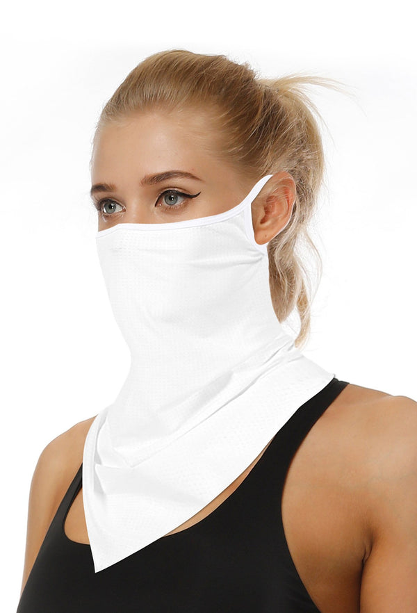 Plain White Face Bandana Scarf Mask With Earloops