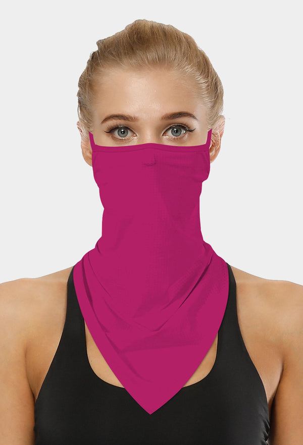 Plain Wine Face Bandana Scarf Mask With Earloops
